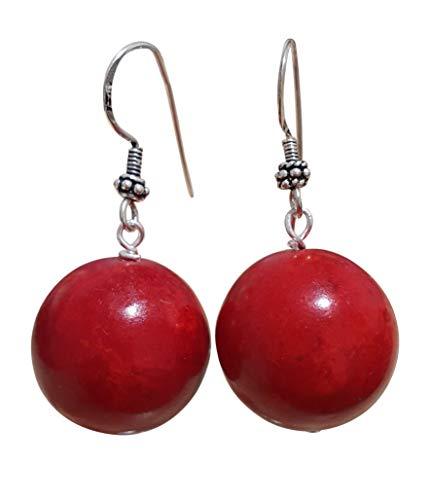 TreasureBay Prachtige Handgemaakte 20mm Ethnic Red Edelsteen Oorbellen voor Vrouwen gemaakt met Sterling zilver