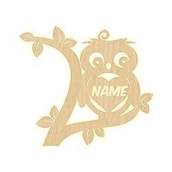 """Wandlampe""""Eule Name"""" Kinderzimmer personalisierte Lampe mit Namen Nachtlicht Leuchte LED Wandleuchte Dekoration Holz Jungen Mädchen Baby Geschenk Set Schlummerlicht"""