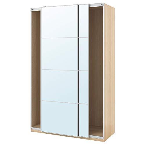 PAX garderob med skjutdörrar 150 x 66 x 94 tum vitmålad ek effekt/Auli spegelglas