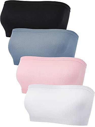 4 Sujetadores Bandeau (Azul Claro, Rosa, Blanco, Negro, S-M) (S-M, Azul Claro, Rosa, Blanco, Negro)
