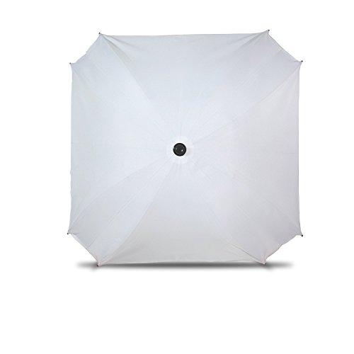 Sombrilla para cochecito de bebé, con brazo de fijación flexible, protección UV, diámetro 68 cm, color blanco