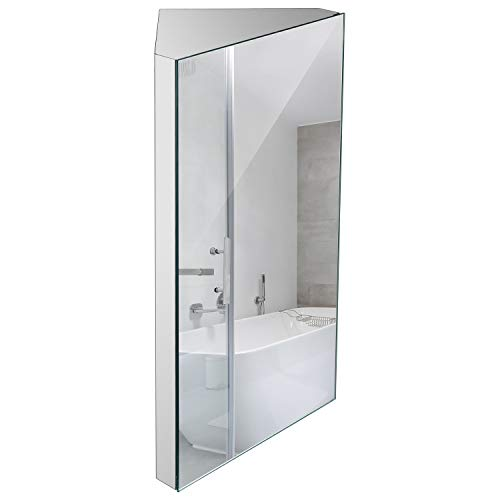 """Wall Mount Corner Medicine Cabinet with Mirror, 24.2"""" x 12.8"""" Inch Bathroom Wall Cabinet, Polished Stainless Steel - Right Open Mirror Door Three Shelves"""