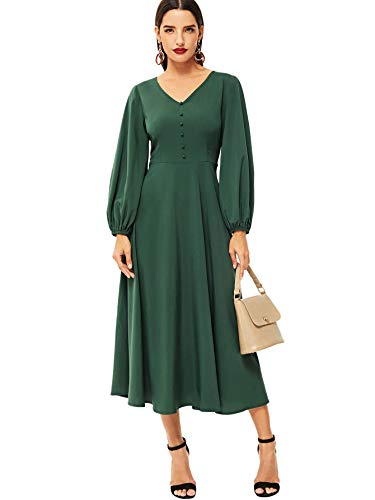 Romwe Women's Lantern Long Sleeve V-Neck A Line Flared Solid Midi Dress