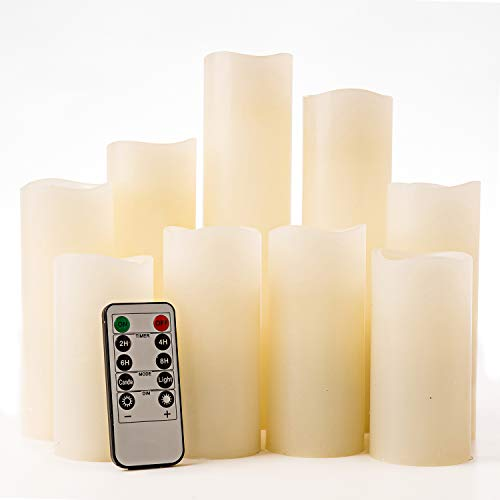 Artmory Flameless Candles White, Battery Operated LED Pillar Electric Fake Wax Candles with Remote...