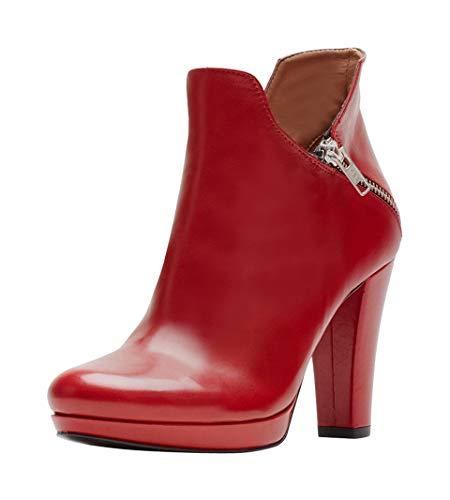 Poi Lei Damen-Schuhe Plateau Stiefeletten Trixi Echtleder Glattleder Trichterabsatz - Handgefertigt in Europa