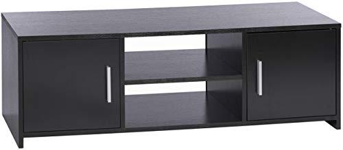 ts-ideen TV-Bank Lowboard Sideboard Kommode HiFi-Schrank Regal Holz Holz 2 Türen Schwarz 110 x 36 cm