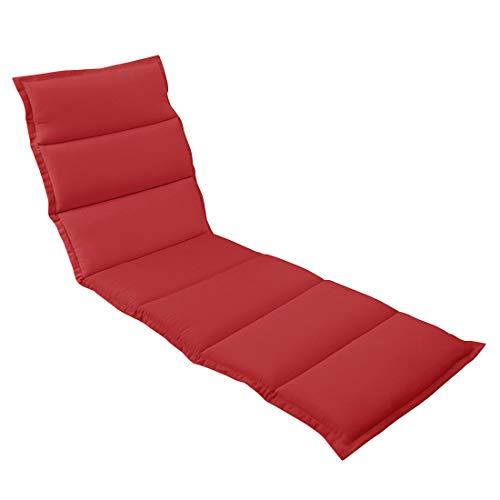 OUTLIV. Polsterauflage für Liegen Liegen-Auflage 190x60 cm Rot Auflage für Rollliegen, Sonnenliegen und Gartenliegen