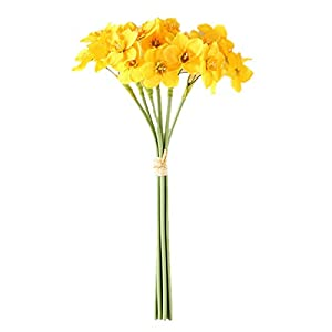 VERBAY 6 Heads Artificial Flower Daffodil Bouquet Silk Plants Home Decoration Room Wedding Christmas Party Table Decor Rural Style(White)