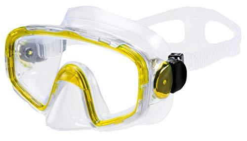 AQUAZON Shark Junior Medium Schnorchelbrille, Taucherbrille, Schwimmbrille, Tauchmaske für Kinder, Jugendliche von 7-14 Jahren, Tempered Glas, sehr robust, tolle Paßform, Farbe:gelb transparent