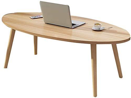 Escritorio para el hogar, mesa de centro ovalada de madera Montaje fácil para café Mesa de comedor para computadora portátil Decoración de la sala de estar del jardín Soporte de flores (Color: B)