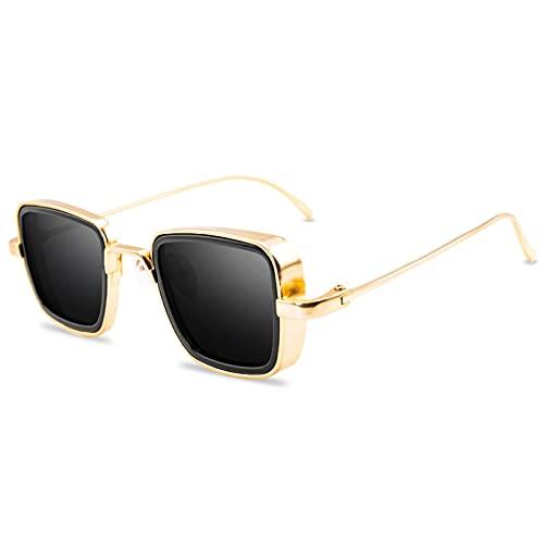 Gafas de sol de moda de los hombres de las mujeres del diseñador retro cuadrado marco de metal gafas UV400 gafas