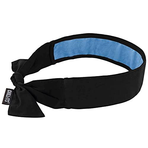 Ergodyne Chill-Its 6700CTC - Bandana de refrigeración evaporativa, refrigeración de PVA, cierre de corbata, color negro