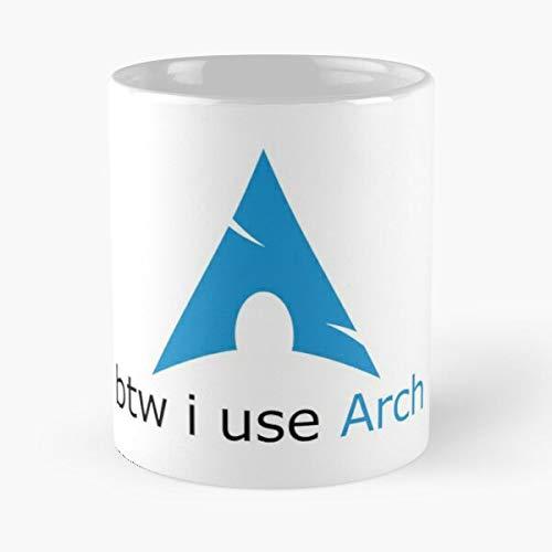 Desconocido Arch Geek Use Archlinux Nerd BTW Tux I Linux Taza de café con Leche 11 oz