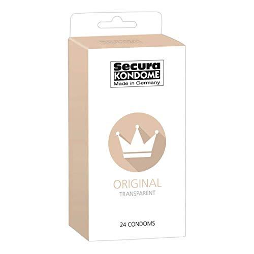 Secura Original 24er Kondome - 24 transparente Präservative zur Verhütung ohne Hormone für Männer, extra feucht mit Reservoir