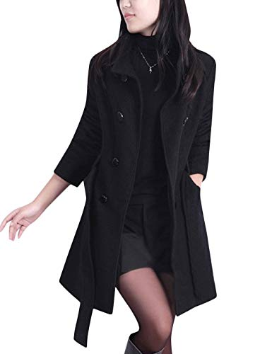 Tanming Womens Winter Casual Lapel Wool Blend Double Breasted Pea Coat Trench Coat (Black, X-Large)