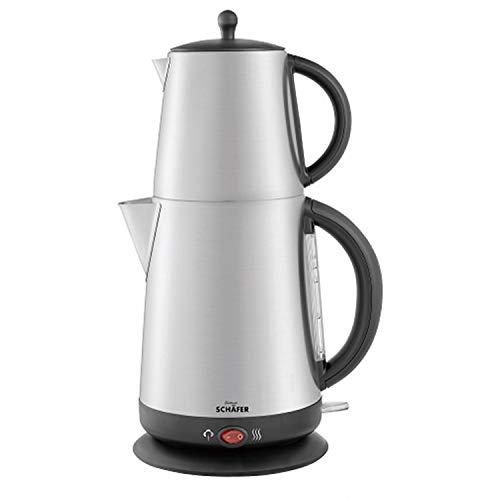 Schäfer Teekocher Edelstahl Teemaschine mit Sieb Teebereiter Wasserkocher Teekanne, Warmhaltefunktion, 2200 Watt, 1L-1,7L, Silber