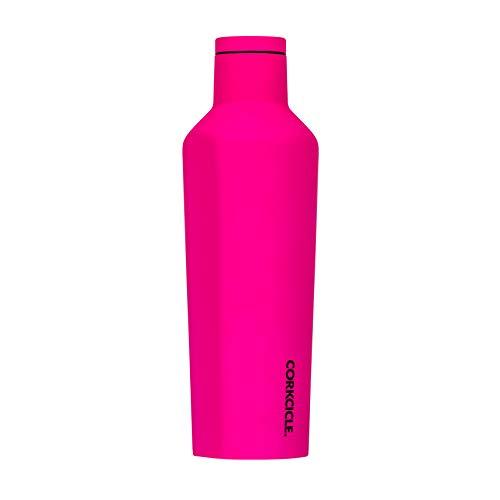 Corkcicle Canteen Neon Lights Collection - Taza de viaje de acero inoxidable con triple aislamiento, color rosa neón
