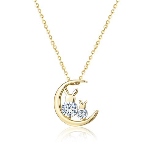 HCMA Collar con microincrustaciones de Gato de Luna Simple de Plata de Ley 925, Collar de Cadena de eslabones, joyería de la Suerte para Mascotas para Mujeres