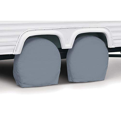 Classic Accessories RV & Trailer Wheel Covers 18'-21' Diameter, 6.75' Wide, Grey, Set of...