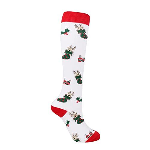 Yue668 Calcetines de invierno para mujer con diseño de Navidad, calcetines de Navidad, calcetines de ocio, deportes de protección de algodón, calcetines de Navidad