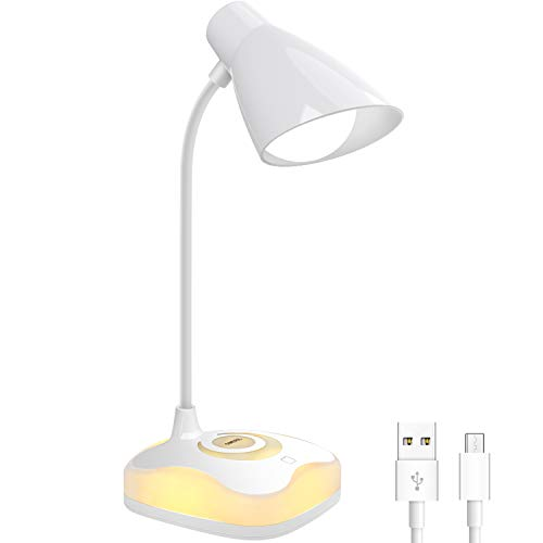 Lampara Escritorio LED, OMERIL Luz Lectura Recargable USB con Control Tactil, Luz Calida en la Base y 3 Brillo Regulable, Flexo Escritorio Infantil para Estudio, Lectura, Oficina, Dormitorio, Mesa