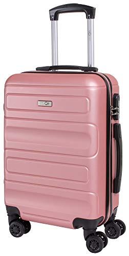 CABIN GO 5515 Valigia Trolley ABS, bagaglio a mano 55x37x20, Valigia rigida, guscio duro e antigraffio con 8 ruote, Ideale a bordo di Ryanair, Alitalia, Air Italy, easyJet, Lufthansa ROSA