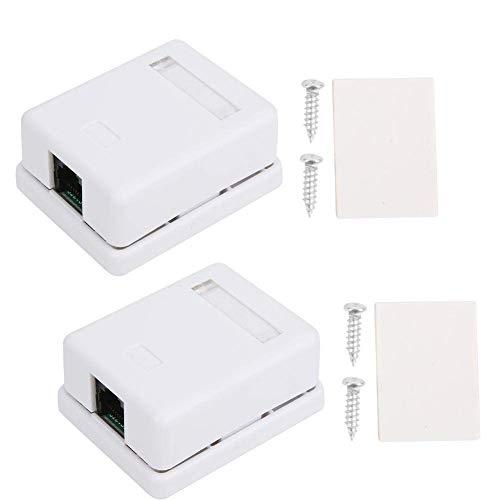 2 stks RJ45 Opbouwdoos Cat6 Enkele Poort Desktop Informatie Netwerk Aansluitdoos met Dubbelzijdige Tape voor Ethernet Kabels