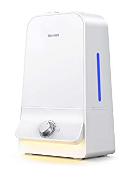 Homech Cool Mist Humidifier 6L 26dB Quiet Ultrasonic Humidifiers for Large Bedroom Babies Adults 360° Nozzle Water Level Window and Waterless Auto Shut-Off for Home Office 20-60 Hours White