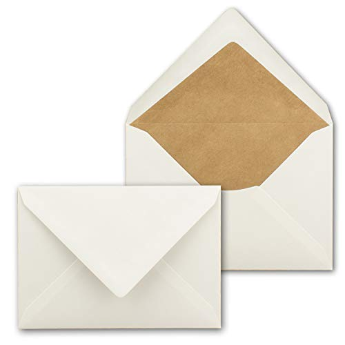 75x kraftpapier-enveloppen zandbruin gevoerd - DIN C6 - witte zijdevoering - natte kleefing zonder venster - 114 x 162 mm - gerecycleerde enveloppen - serie Omwereld 100 Stück Naturweiss / Kraftpapier-Futter