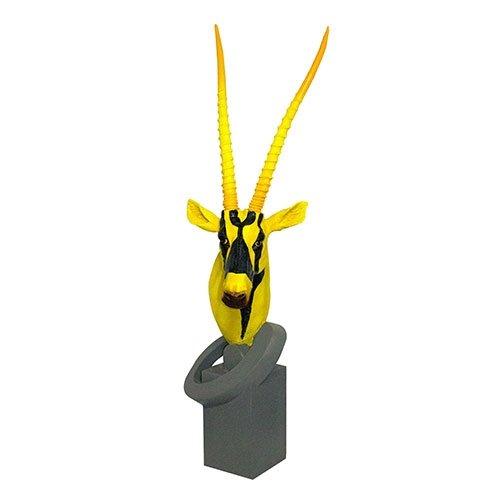 Escultura Cabeça Antílope Yellow e Black