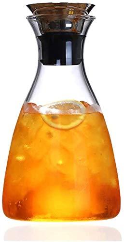 Tägliches Zubehör Teekanne 1,1L/1,6L Karaffe Glaskrug Krug Bleifreier Borosilikat-Wasserkocher mit Griff und Edelstahldeckel für Milch Rotwein Hitzebeständig (Größe : 1100ML)