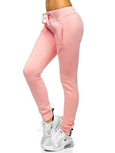 BOLF Damen Jogginghose Sporthose Freizeithose Trainingshose Sweathose Yogahose Sweatpants Baumwolle Hose Fitness Workout Basic Elastic J.Style CK-01-38 Rosa(Hell) M [F6F]