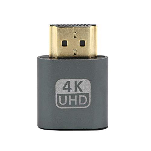 Adaptador de emulador de Pantalla Virtual de Enchufe simulado Compatible con VGA HDMI DDC Edid (Gris)