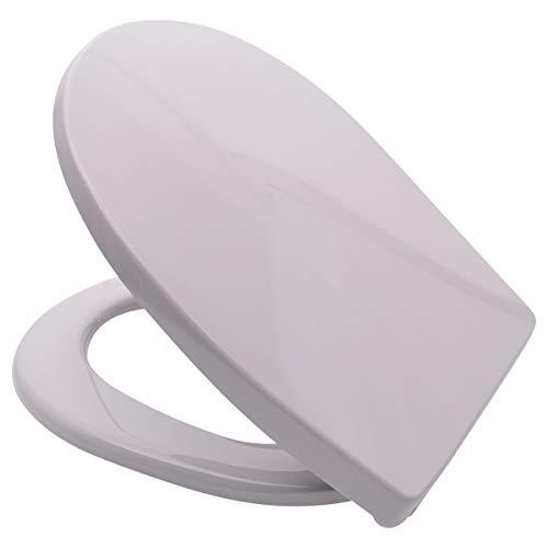 LUVETT® PREMIUM WC-SITZ C100 oval mit Absenkautomatik SoftClose® & TakeOff® EasyClean Abnahme, hygienisch & beständig: Urea Duroplast Toilettendeckel, rostfreier Edelstahl, Farbe:Manhattan Grau