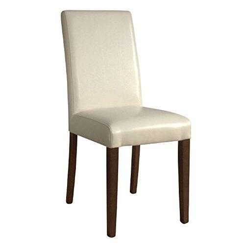 Bolero Gh444 simili cuir Chaise de salle à manger, Blanc (lot de 2)