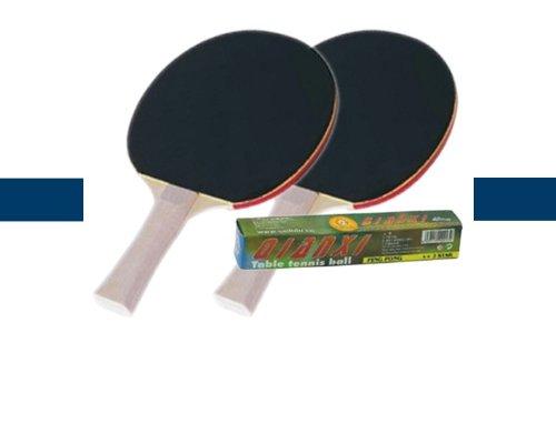 Lot de 2 raquettes noires et 6 balles de ping-pong de couleur blanc - Visiodirect -