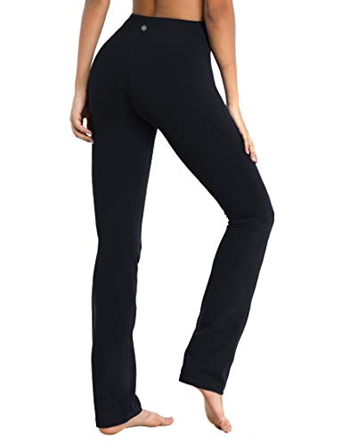 "BUBBLELIME 29""/31""/33""/35"" 4 Styles Women's Straight Legs Yoga Pants Tummy Control - Straight Leg_Black M_33"" Inseam"