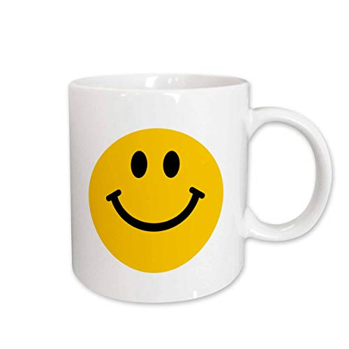 3dRose mug_76653_1'Yellow Smiley Face - Cute Traditional Happy Smilie - 1960s Hippie style - Smiling on white' Ceramic Mug, 11 oz, Multicolor