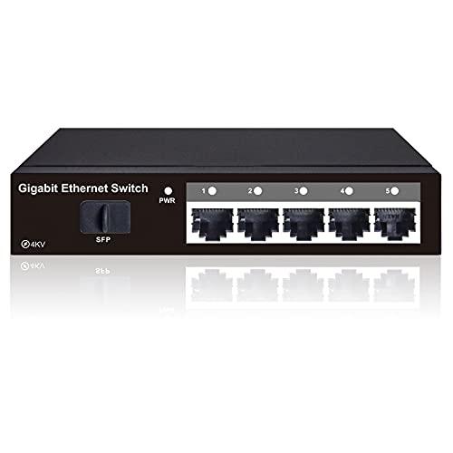 STEAMEMO 5-Port Gigabit Ethernet Unmanaged Switch, Network Hub, Ethernet Splitter, Silent Operation, Desktop or Wall Mount, Plug-and-Play
