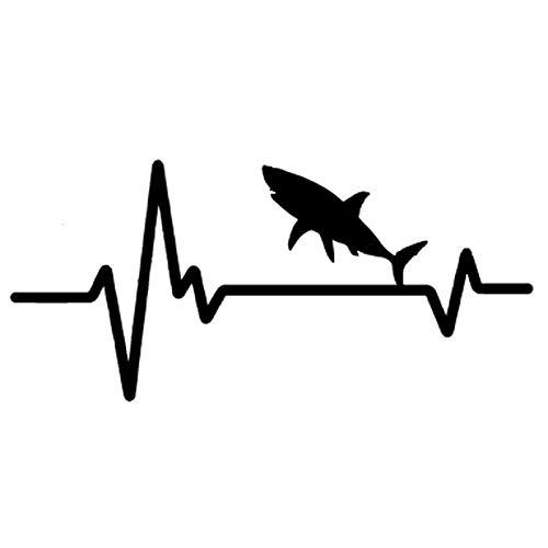 ZHYCT 2 Stücke, 18 * 9 cm Herzschlag Linie Hai Schwarz Lustige Auto Aufkleber Vinyl Aufkleber, Autofenster Aufkleber, Auto Autoaufkleber Tattoo Aufkleber, Motorrad Aufkleber Kunst Dekorative