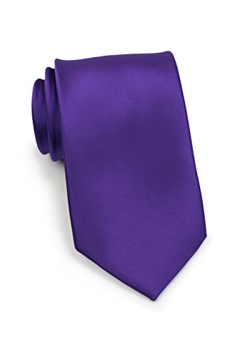 Bows-N-Ties Men's Necktie Solid Color Microfiber Satin Tie 3.25 Inches (Regency Purple)