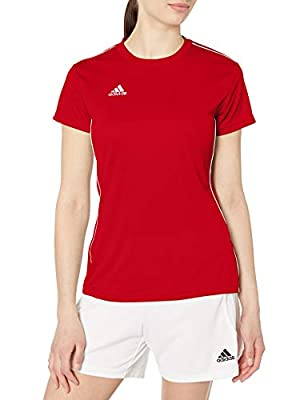 adidas Women's Core 18 Jersey, Power Red/White, Large