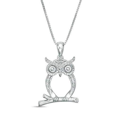 1/10 CT. T.W. Colgante de diamante transparente D/VVS1 con contorno de búho para mujer, cadena de 45,7 cm en plata de ley 925