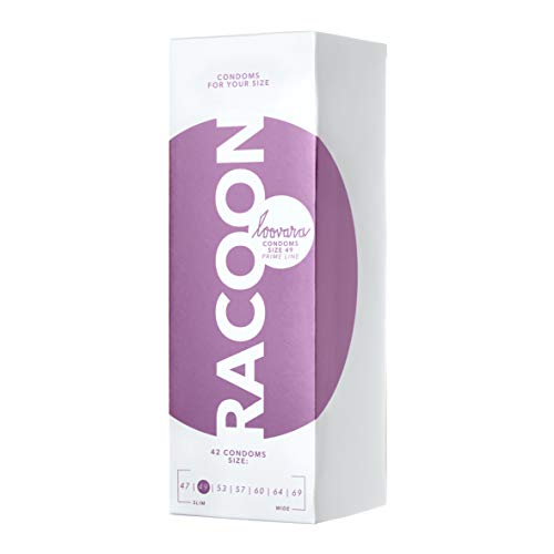 Loovara 42 Kondome in individuellen Größen - Kondomgröße 49 - Size Racoon - Kondome dünn aus Fair Rubber - Für mehr Fun & Feeling beim Sex - Vegane Präservative im 42er Pack
