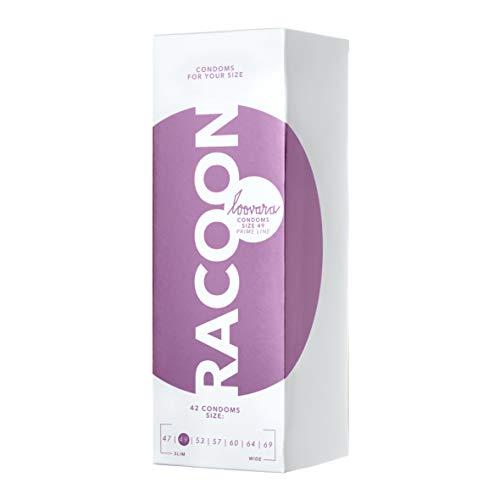 Loovara 42 Condones Individuales – Condones de Tamaño 49 – Talla Raccoon – Condón Delgado Hecho con Caucho Justo – más Diversión y Sensación Durante el Sexo – Paquete de 42 Condones Veganos