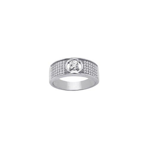 Bijoux pour tous - Anillo de plata de ley con zirconia, talla P