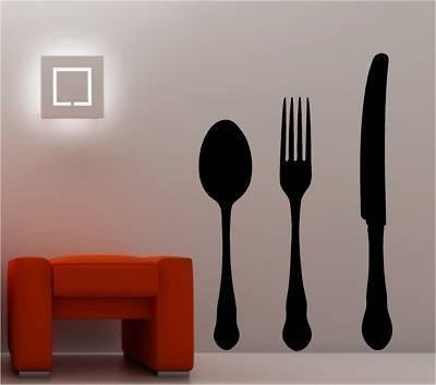 Online Design Gigante Cuchillo Cuchara Tenedor Pegatina Adhesiva Vinílica Pared Cocina - Plateado