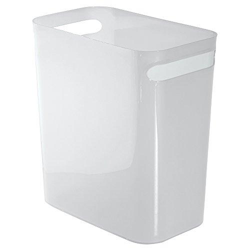 iDesign Mülleimer mit Griffen, kleiner 9,5 l Papierkorb aus Kunststoff, moderner Abfalleimer für Büro, Küche oder Badezimmer, mattweiß