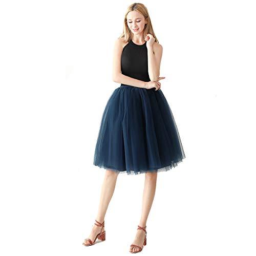 Aivtalk - Falda de tutú para mujer, tutú corto, diseño clásico, para baile, fiesta, baile, esquí, suave, con encaje de colores Bleu Foncé Talla única
