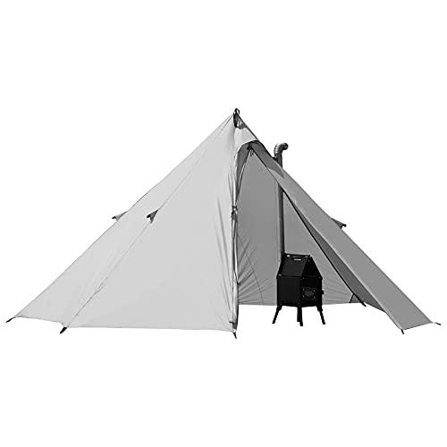 [Amazonブランド] Eono(イオーノ)テント 1人用 ティピー ワンポール アウトドア 登山 バックパッキング ツーリング 薪ストーブ用煙突穴あり シェルター ソロテント 軽量 収納バッグ付き
